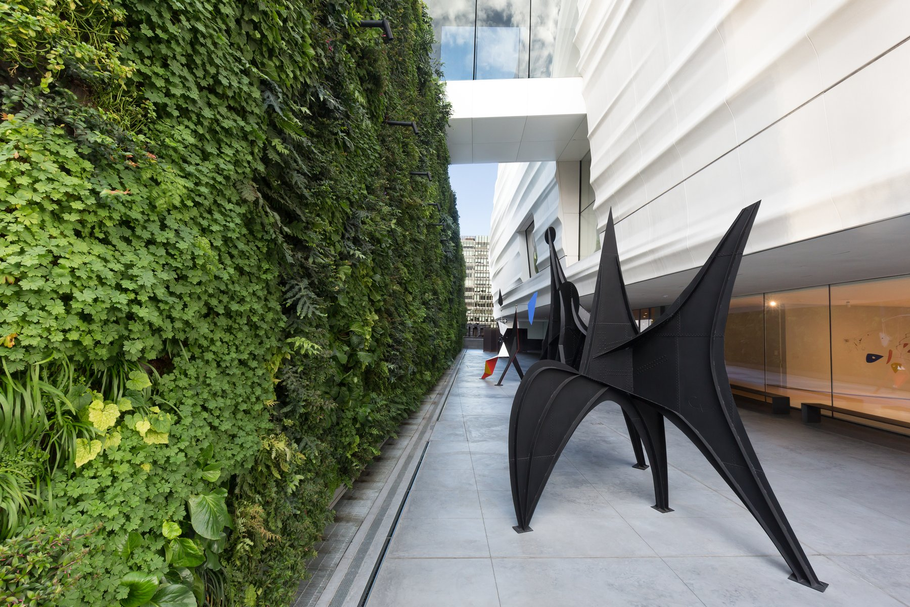 Sculpture terrace and living wall