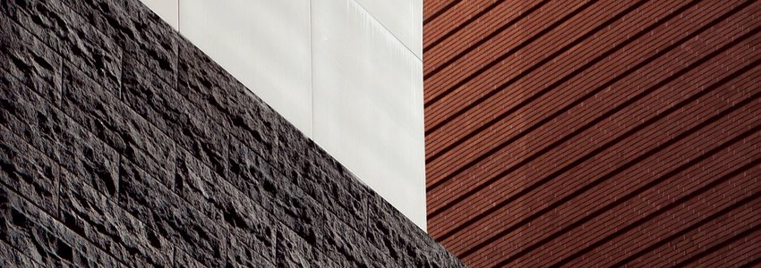 A geometric photographic composition illustrating the three different wall textures of SFMOMA
