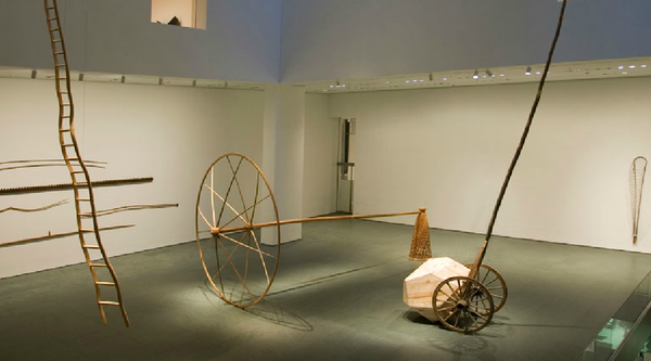 An installation view of Martin Puryear's sculptures at MoMA in New York
