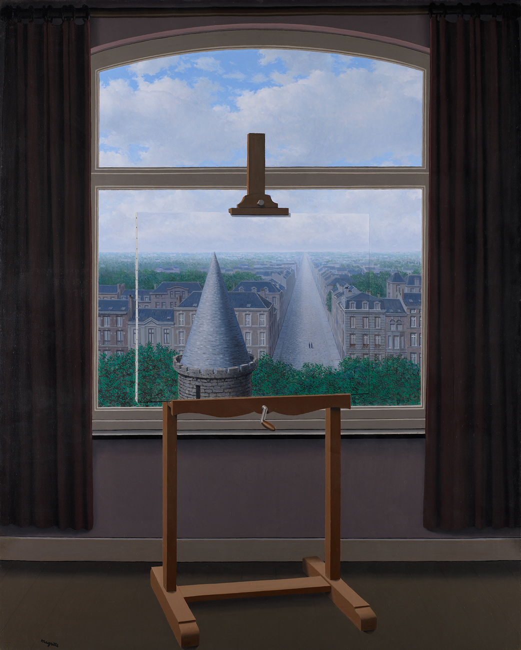 Painting easel against a window, holding a canvas that seems to perfectly match the cityscape behind