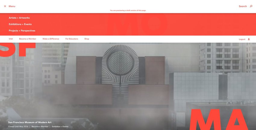 SFMOMA.org menu