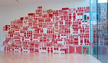 Barry McGee, installation view of red shapes on wall