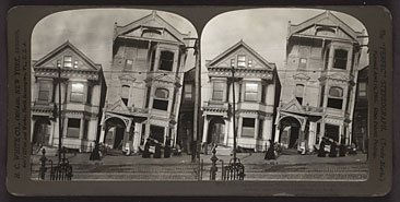 double image of two crumbling houses