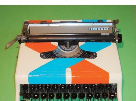 A psychadelic colored vintage typewriter