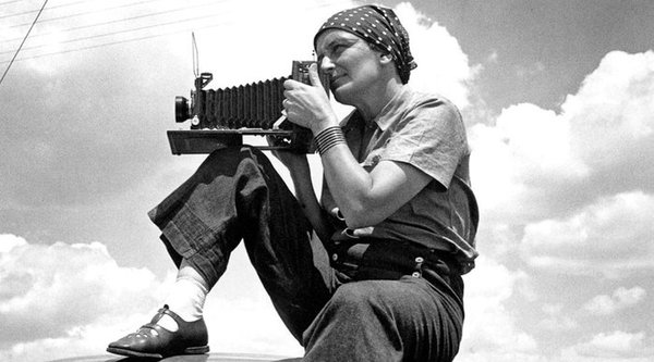 Photographer Dorothea Lange pictured in Texas, circa 1934