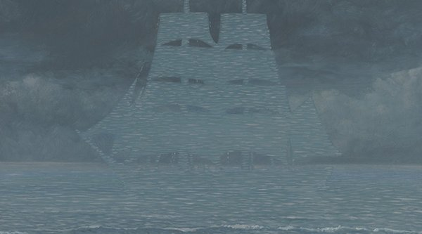 a blue gray painting of a ship