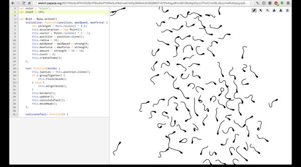 Screenshot, Paper.js library