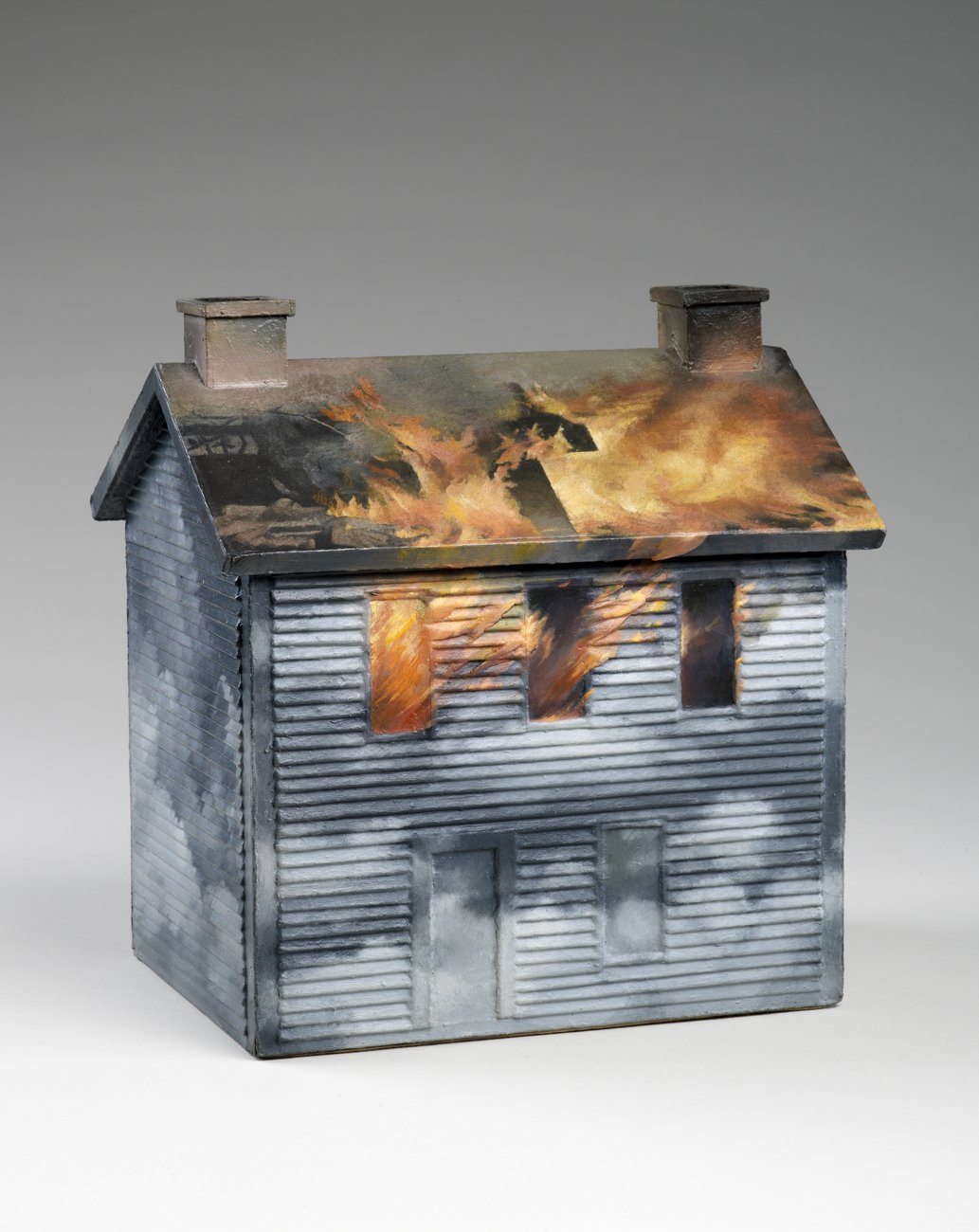 cardboard and wooden sculpture of a house on fire, Vija Celmins