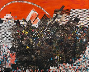 Mark Bradford, mixed media abstract cityscape