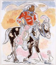 John Bankston, painting of cowboy riding horse