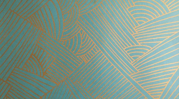 Blue background with golden geometric pattern