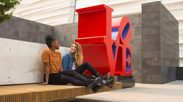Robert Indiana's LOVE sculpture on the floor 5 sculpture terrace at SFMOMA