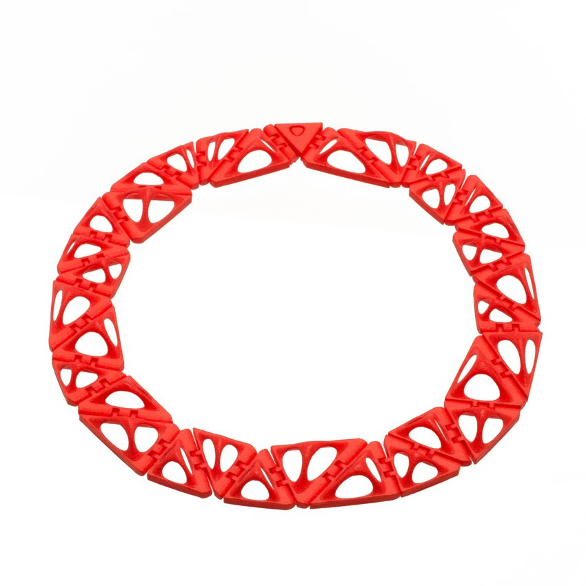 Red, geometric necklace
