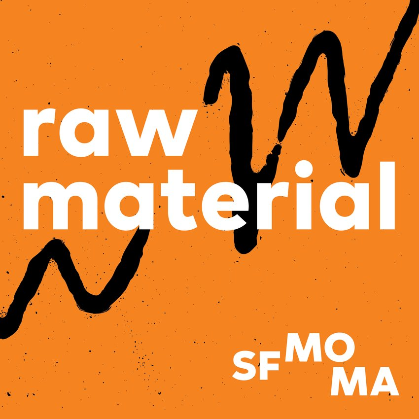 "A logo on an orange background with a black squiggle saying ""Raw Material"""