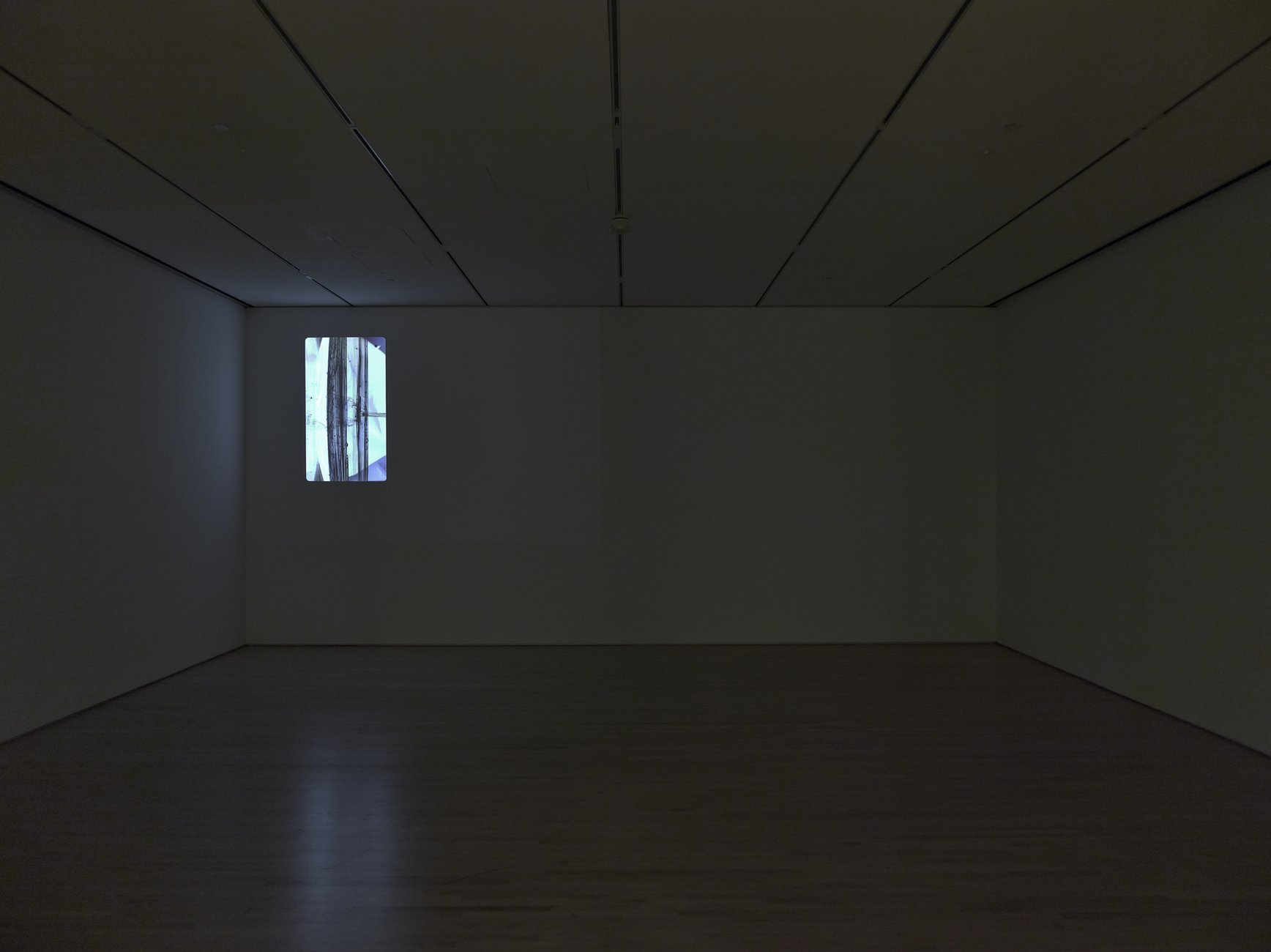 A dark room with an subtract projection on the wall.