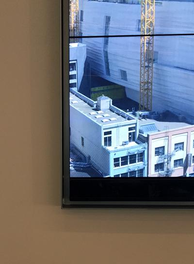 Head-on detail view of custom camera housing