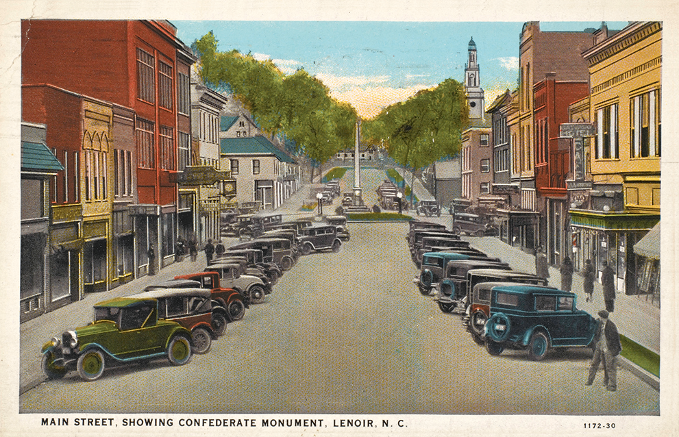 "A vintage color postcard of cars parked along a street reading ""Main Street, Showing Confederate Monument, Lenoir, North Carolina"""