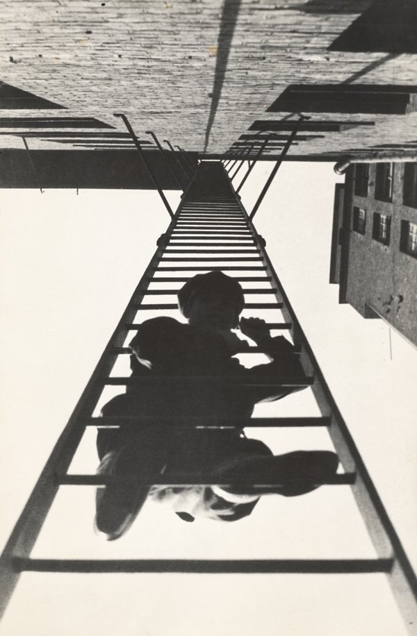 man climbing on ladder from below