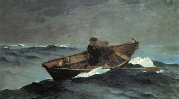 two men in boat in rough sea