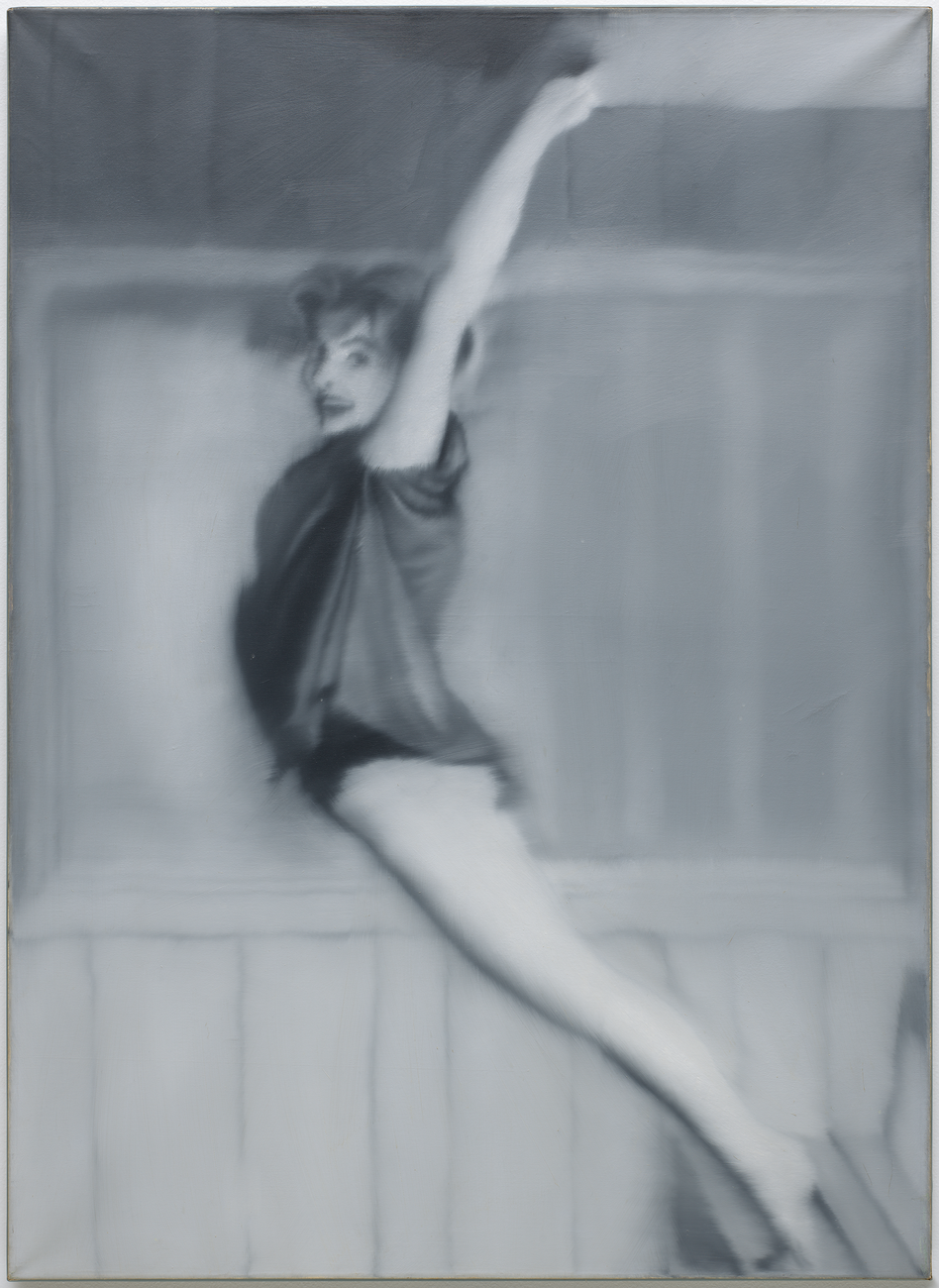 A black and white painting of a smiling gymnast mid-leap