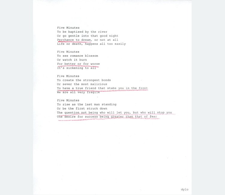 Typed poem printed on white paper with four lines underlined in red pencil
