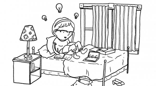 cartoon illustration of a young girl sitting on her bed with light bulbs above her head