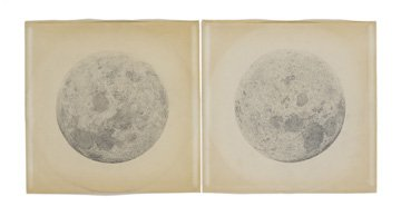 diptych with two moons on paper