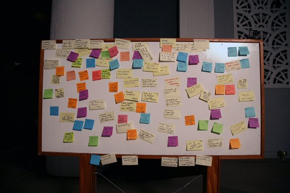 A whiteboard covered in brainstorming notes on colorful post-its
