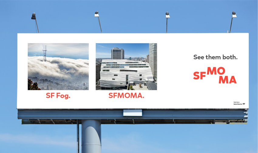 An advertisement with San Francisco fog next to the SFMOMA building