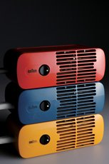 Dieter Rams, three red yellow and blue horizontal hair dryers