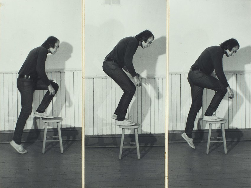 A triptych of a man climbing onto a stool.