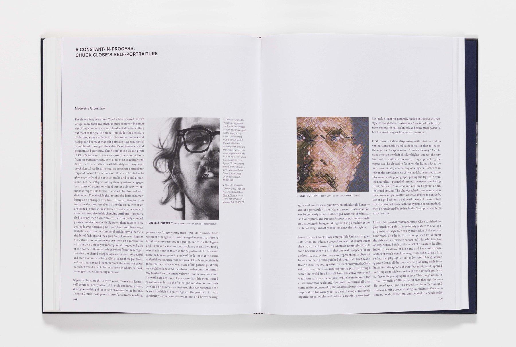 Chuck Close Self-Portraits publication pages 108_109