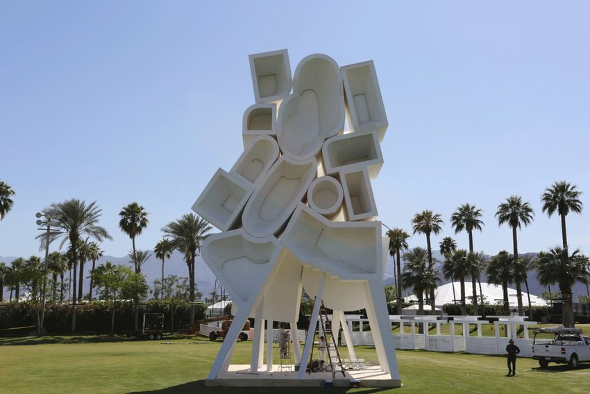 A white abstract architectural structure, Jimenez Lai