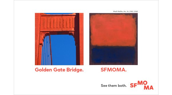 An advertisement of the Golden Gate Bridge next to a Mark Rothko painting
