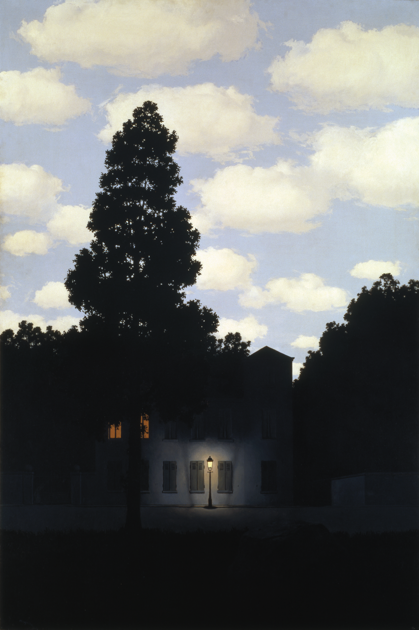 Street scene of a home at dusk with a lit street lamp and a bright daytime sky above