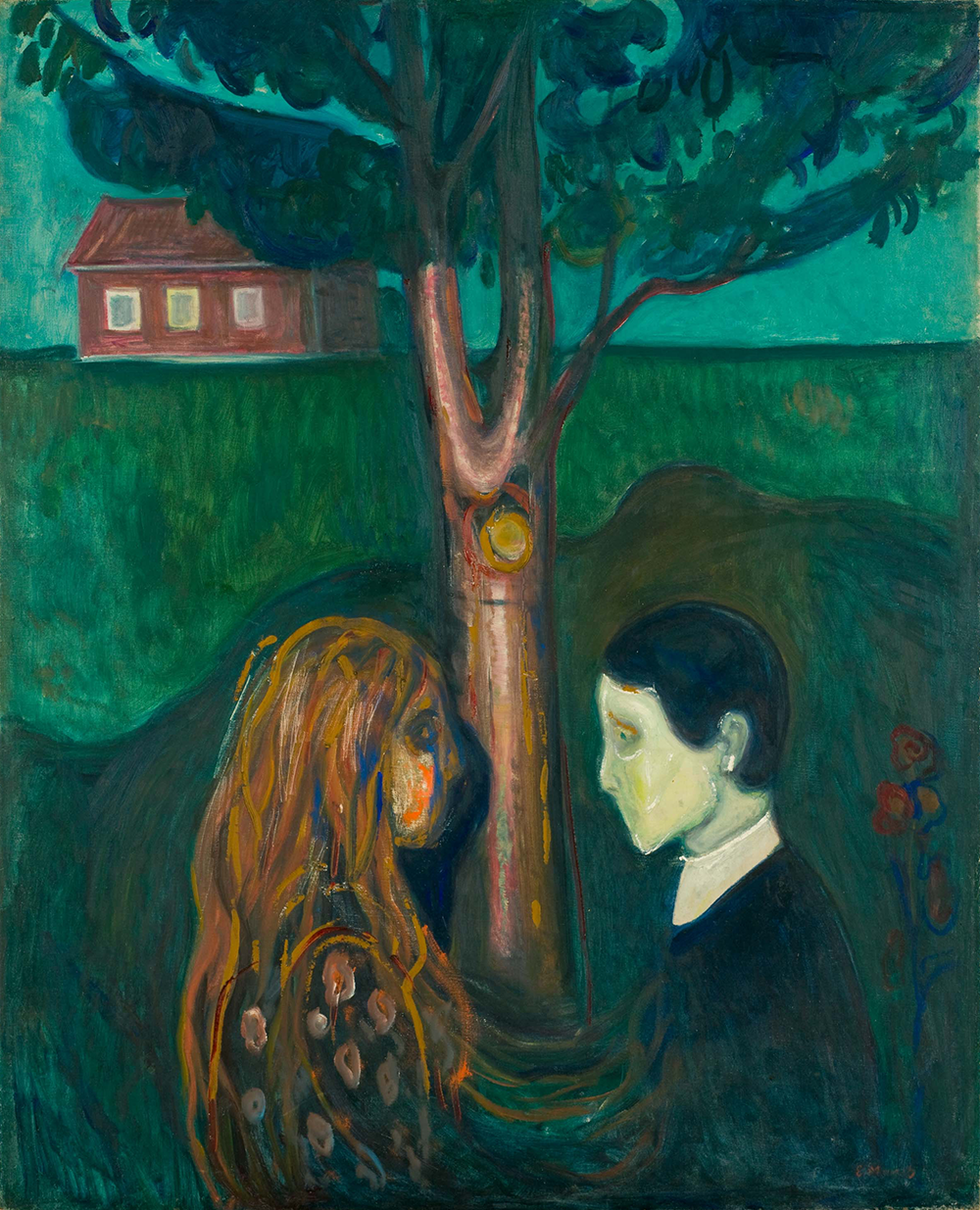 Painting of a man and woman standing under a tree with a field and house in the background