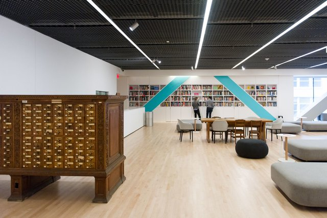 A card catalog situated in a spacious, contemporary space, Public Knowledge Library