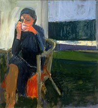 Richard Diebenkorn, portrait of woman drinking coffee
