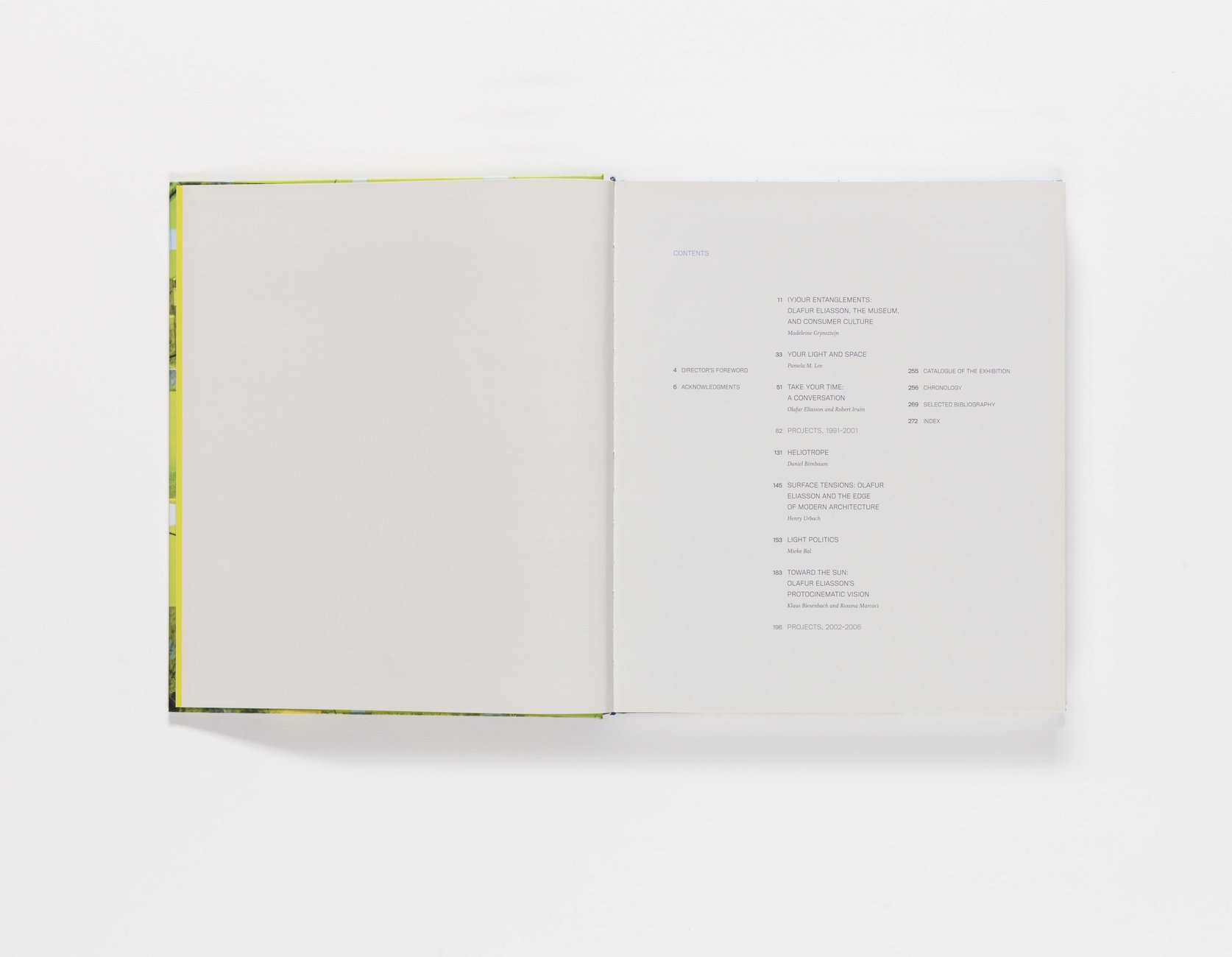 Take Your Time: Olafur Eliasson publication table of contents