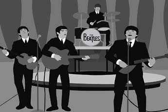 Kota Ezawa, black and white illustrated video still of the Beatles