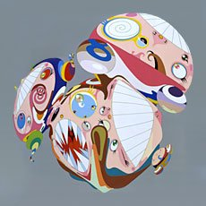 Murakami, three spheres with facial features