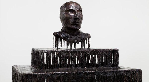 A black sculpture bust