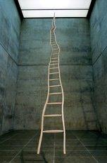 Puryear, perspectival shot of wooden ladder sculpture