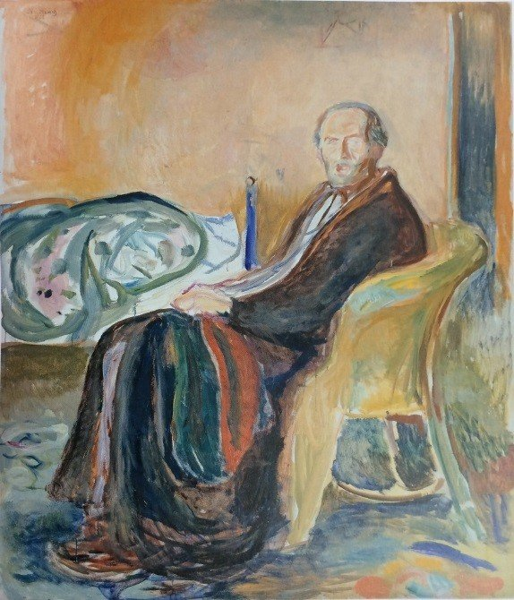 A painting of a man sitting in a chair