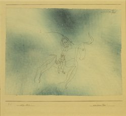 Paul Klee, drawing of figure on horse with blue watercolor background