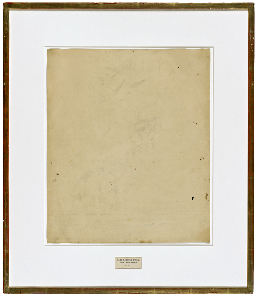 Traces of ink and crayon on paper, with mat and hand-lettered label in ink, in gold-leafed frame