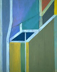 diebenkorn abstract ocean painting with blues and yellows