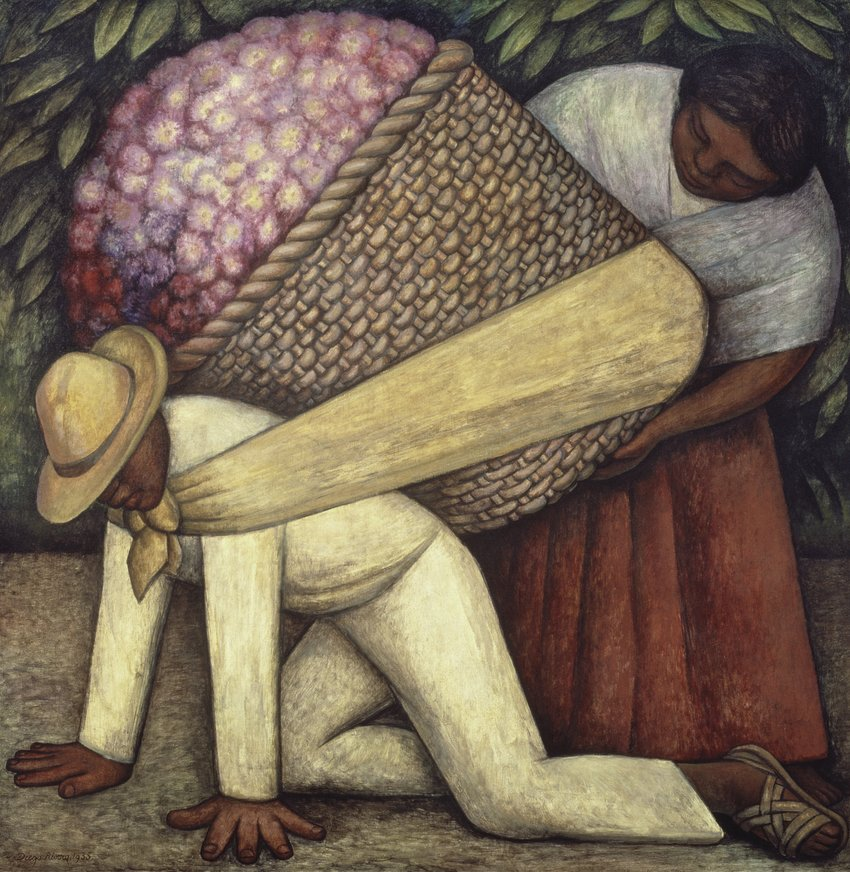 Diego Rivera painting of a woman helping a kneeling man load a giant basket of pink flowers onto his back