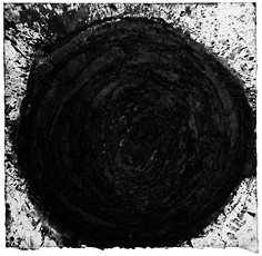 Richard Serra drawing, dark black circle on white background
