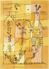 Klee, illustrated print on grid of yellow rectangles
